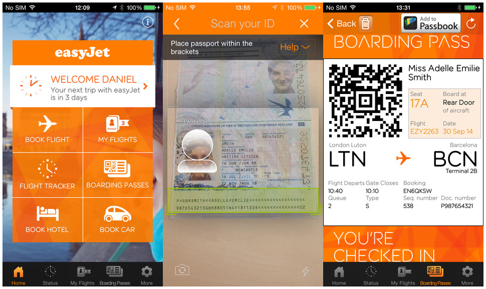 easyJet passport scan application for smartphones