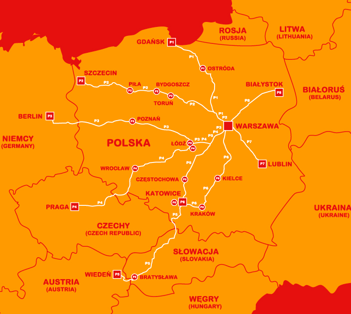 polskibus network map