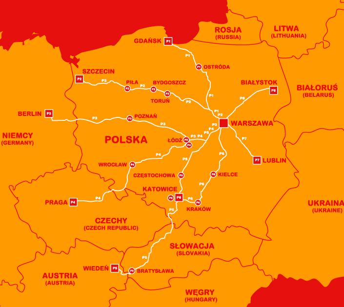 polskibus network map
